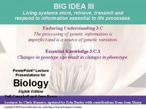 BIG IDEA III Living systems store retrieve transmit