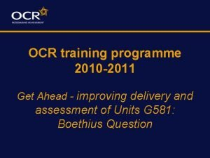 OCR training programme 2010 2011 Get Ahead improving