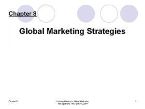 Chapter 8 Global Marketing Strategies Chapter 8 Kotabe