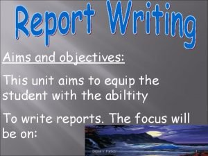 Aims and objectives This unit aims to equip