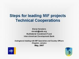 Steps for leading MIF projects Technical Cooperations Elena