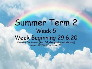Summer Term 2 Week 5 Week Beginning 29
