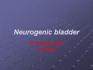 Neurogenic bladder Dr Hussein Lafta urologist Neurogenic bladder