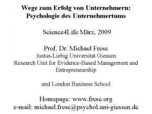 Wege zum Erfolg von Unternehmern Psychologie des Unternehmertums