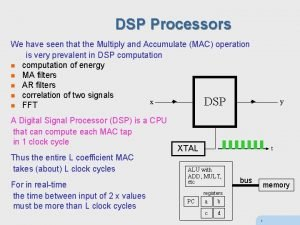 DSP Processors We have seen that the Multiply