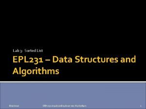 Lab 3 Sorted List EPL 231 Data Structures