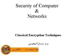 Basic Terminology Plaintext the original message Ciphertext the