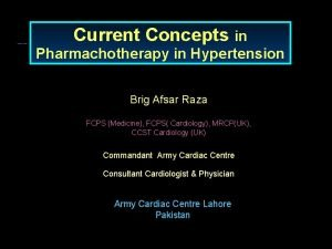 Current Concepts in Pharmachotherapy in Hypertension Brig Afsar