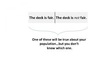The deck is fair The deck is not