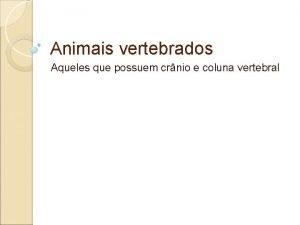 Animais vertebrados Aqueles que possuem crnio e coluna