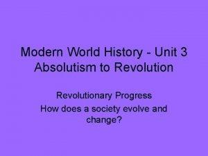 Modern World History Unit 3 Absolutism to Revolutionary