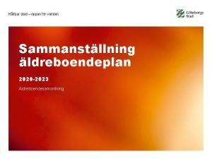 Hllbar stad ppen fr vrlden Sammanstllning ldreboendeplan 2020