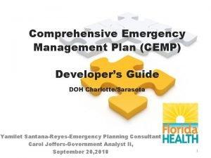 Comprehensive Emergency Management Plan CEMP Developers Guide DOH