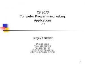 CS 2073 Computer Programming wEng Applications Ch 1