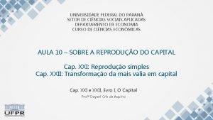 UNIVERSIDADE FEDERAL DO PARAN SETOR DE CINCIAS SOCIAIS