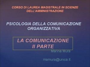 CORSO DI LAUREA MAGISTRALE IN SCIENZE DELLAMMINISTRAZIONE PSICOLOGIA
