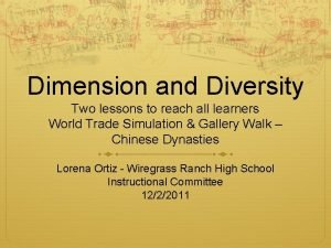 Dimension and Diversity Two lessons to reach all