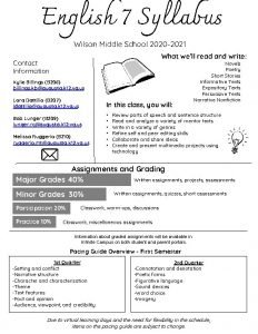 English 7 Syllabus Wilson Middle School 2020 2021