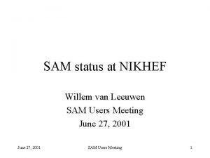 SAM status at NIKHEF Willem van Leeuwen SAM