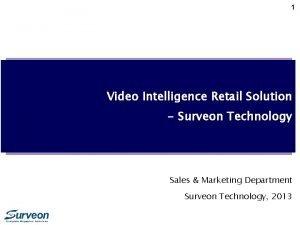 1 Video Intelligence Retail Solution Surveon Technology Sales