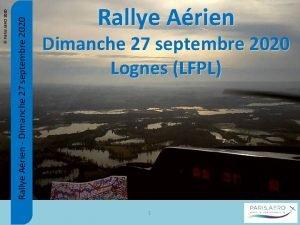 Rallye Arien Dimanche 27 septembre 2020 PARIS AERO