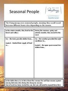 Seasonal People The Wampanoag were seasonal people meaning
