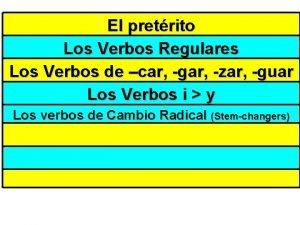 Flip Chart 1 El pretrito Los Verbos Regulares