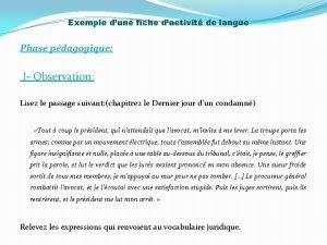 Exemple dune fiche dactivit de langue Phase pdagogique