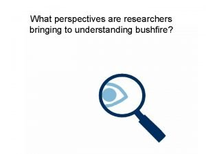 What perspectives are researchers bringing to understanding bushfire