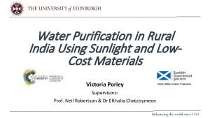 Water Purification in Rural India Using Sunlight and