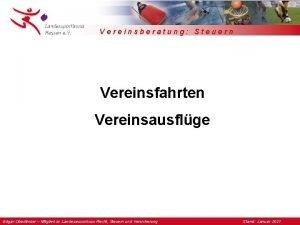 Vereinsberatung Steuern Vereinsfahrten Vereinsausflge Edgar Oberlnder Mitglied im