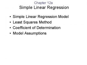 Chapter 12 a Simple Linear Regression Simple Linear