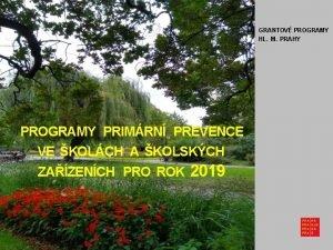 GRANTOV PROGRAMY HL M PRAHY PROGRAMY PRIMRN PREVENCE