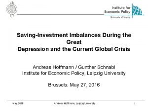 SavingInvestment Imbalances During the Great Depression and the