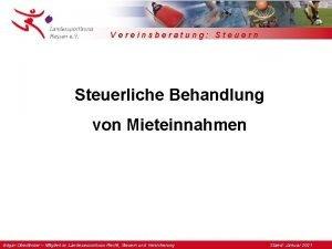 Vereinsberatung Steuern Steuerliche Behandlung von Mieteinnahmen Edgar Oberlnder