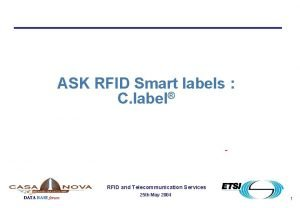 ASK RFID Smart labels C label RFID and