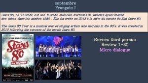septembre Franais I Stars 80 La Tourne est