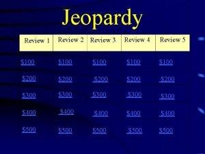 Jeopardy Review 1 Review 2 Review 3 Review