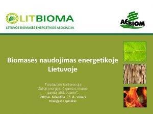 Biomass naudojimas energetikoje Lietuvoje Tarptautin konferencija alioji energija