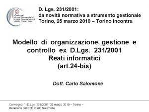D Lgs 2312001 da novit normativa a strumento