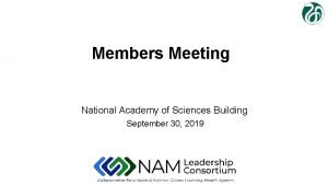 Members Meeting National Academy of Sciences Building September