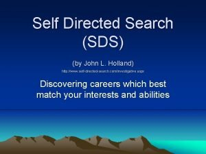 Self Directed Search SDS by John L Holland