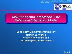 MDBS Schema Integration The Relational Integration Model Ramon