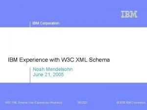 IBM Corporation IBM Experience with W 3 C