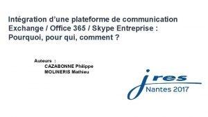 Intgration dune plateforme de communication Exchange Office 365