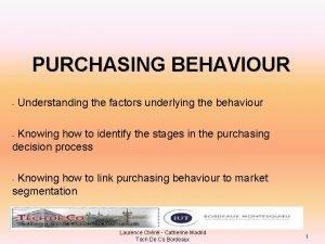 PURCHASING BEHAVIOUR Understanding the factors underlying the behaviour