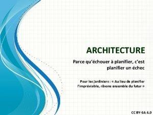 ARCHITECTURE Parce quchouer planifier cest planifier un chec