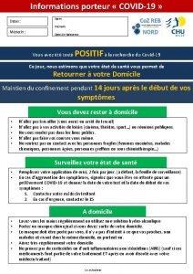 Informations porteur COVID19 Dates Nom Prnom Mdecin Date