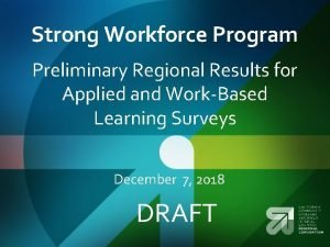 Strong Workforce Program Preliminary Regional Results for Applied