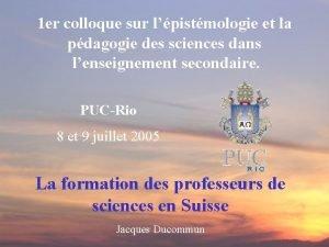 1 er colloque sur lpistmologie et la pdagogie